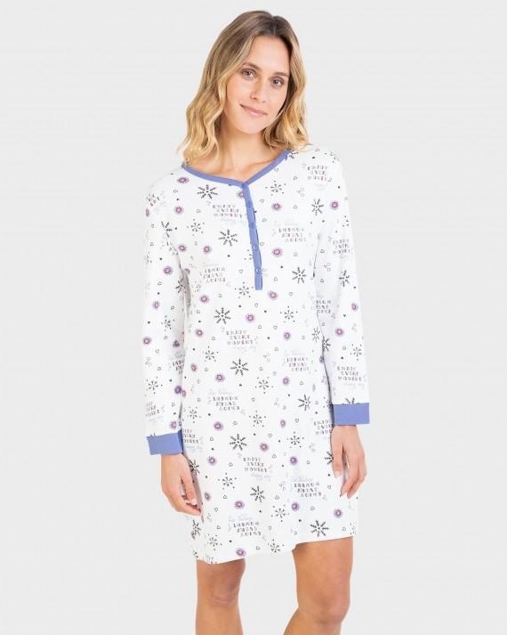 Camisa de dormir de dona 100% cotó de màniga llarga