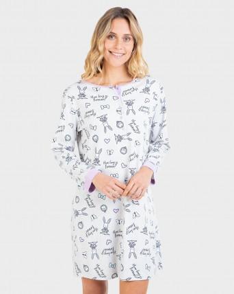 Camisón de mujer 100% algodón de manga larga