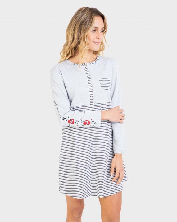 Camisón de mujer manga larga y bolsillo