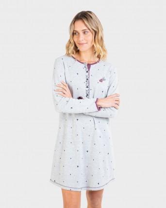 Camisa de dormir de dona màniga llarga i tapeta