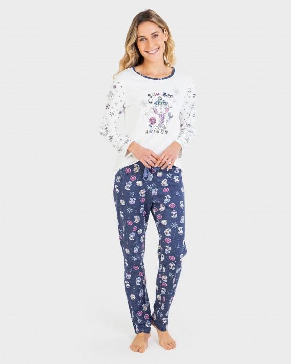 Pijama de dona 100% cotó màniga llarga