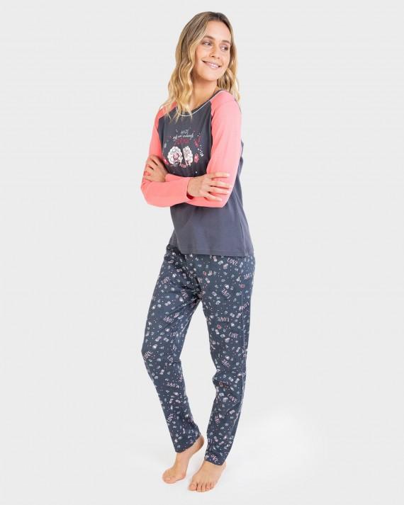 Pijama de mujer 100% algodón y manga larga