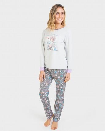 Pijama de mujer con pantalón 100% algodón