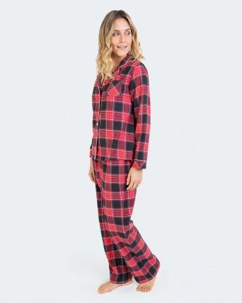 Pijama de dona 100% cotó tipus camisa.