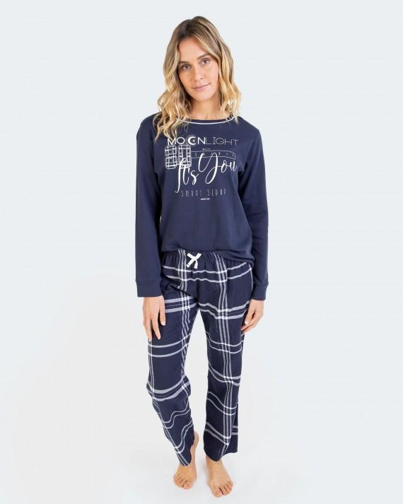 Pijama de mujer 100% algodón manga larga