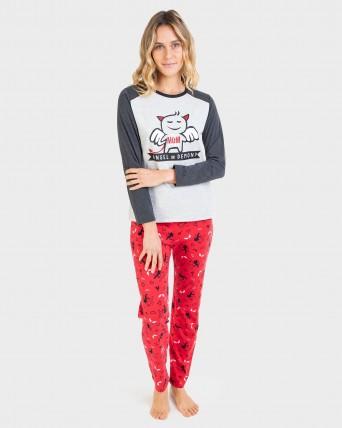 Pijama de mujer manga larga y pantalón 100% algodón