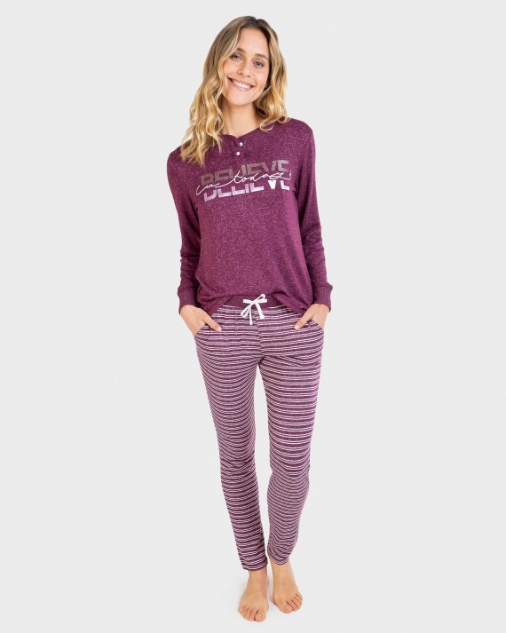Pijama de dona màniga llarga i tapeta