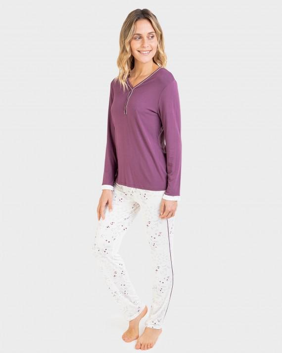 Pijama de dona màniga llarga i coll en punta