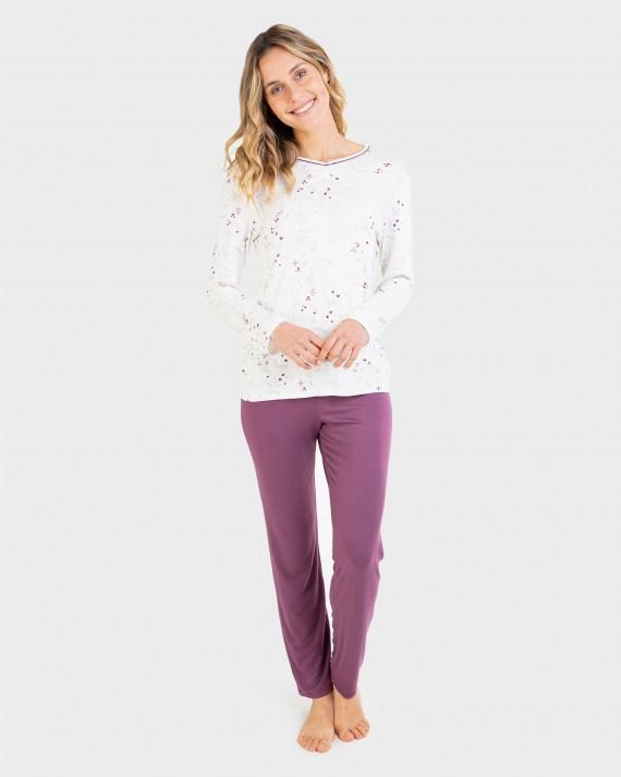 Pijama de dona màniga llarga i coll en punta amb tapeta