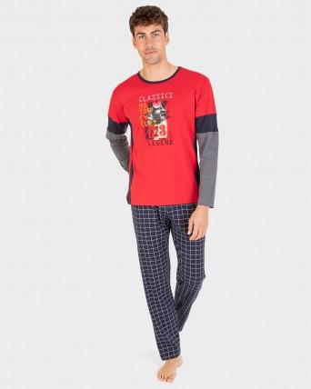Pijama de hombre 100% algodón manga larga