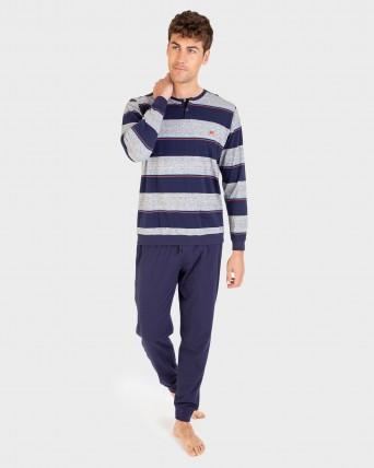 Pijama de hombre pantalón largo y 100% algodón