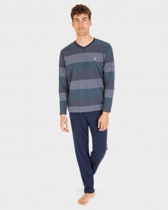 Pijama de hombre cuello pico y manga larga