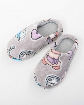 Zapatillas mujer gris con fantasía