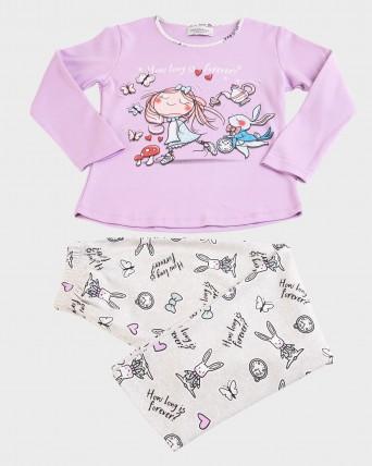 Pijama de nena 100% cotó màniga llarga i pantalons llargs