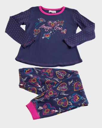 Pijama de niña 100% algodón manga larga y pantalón largo