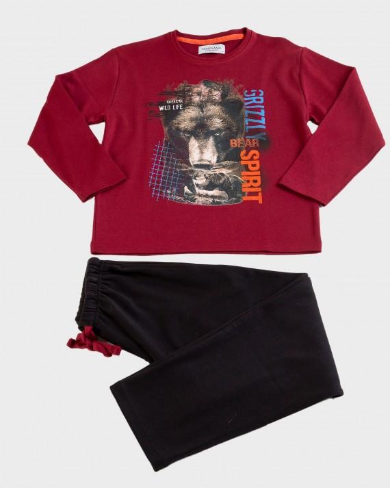 Pijama de niño 100% algodón de manga larga y pantalón largo