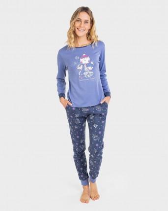 Pijama de mujer 100% algodón con puño