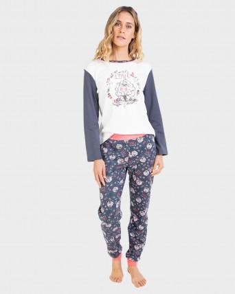 Pijama de dona 100% cotó amb puny