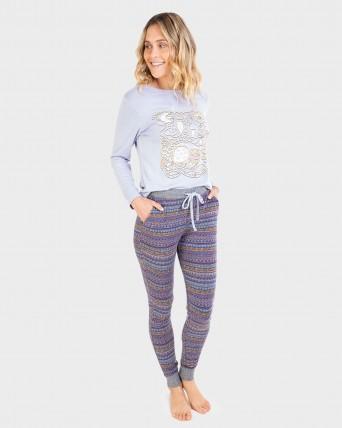 Pijama de mujer manga larga y puños en el pantalón