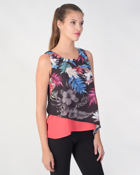 CAMISETA MUJER FLORAL NEGRO