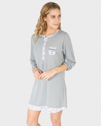 CAMISOLA MUJER GRIS FLORES