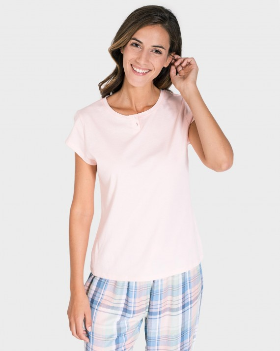12c6d9834d CAMISETA MUJER MIX AND MATCH MANGA CORTA ROSA - CENTRO TEXTIL ...