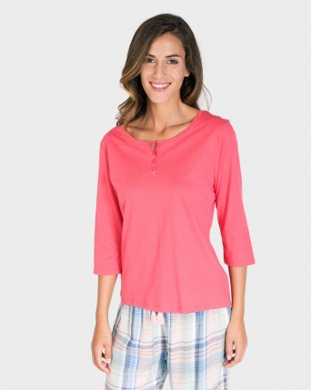 CAMISETA MUJER MIX AND MATCH MANGA 3/4 FUCSIA