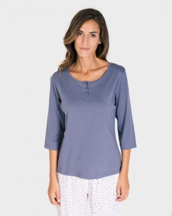CAMISETA MUJER MIX AND MATCH MANGA 3/4 GRIS