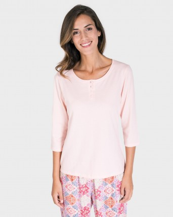 4dec270a CAMISETA MUJER MIX AND MATCH MANGA 3/4 -ROSA