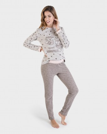 PIJAMA MUJER BEIGE