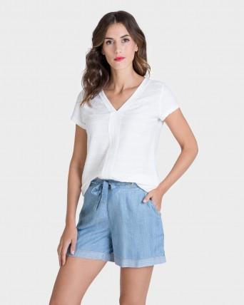 Pantalón de mujer 100% tencel con tachuelas