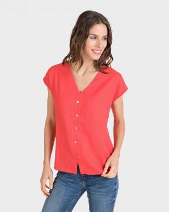 Camiseta de mujer de manga corta y cuello pico
