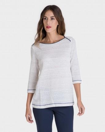Camiseta de mujer de manga francesa y cuello barco