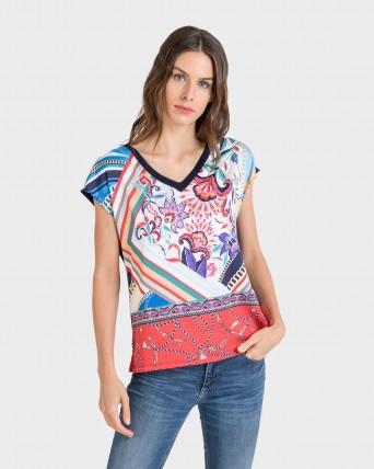 Samarreta de dona de màniga curta amb estampat