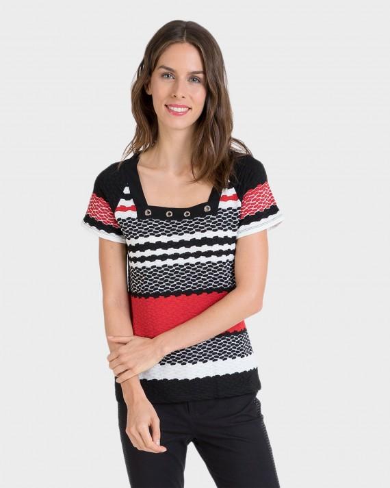 Camiseta de mujer de manga corta con rayas
