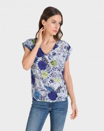 Blusa de mujer de manga corta estampada