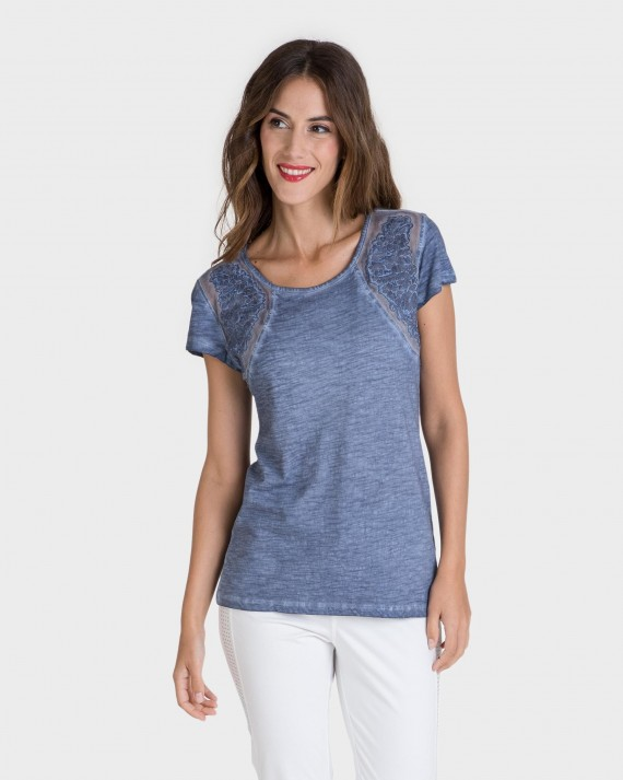 Camiseta de mujer 100% algodón de manga corta