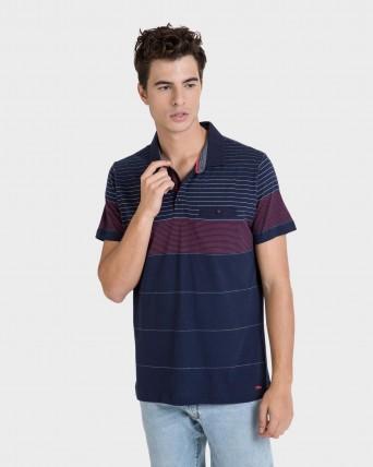 Polo d'home multicolor de màniga curta