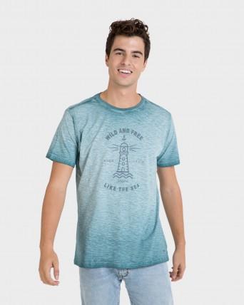 Camiseta de hombre azul de manga corta