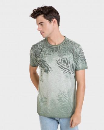 Camiseta de hombre caqui de manga corta