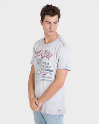 Camiseta de hombre gris de manga corta