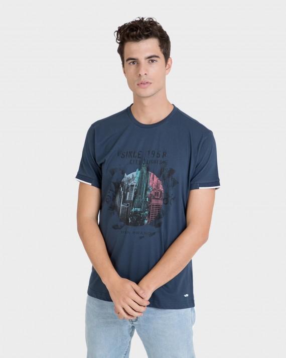 Samarreta d'home blau de màniga curta