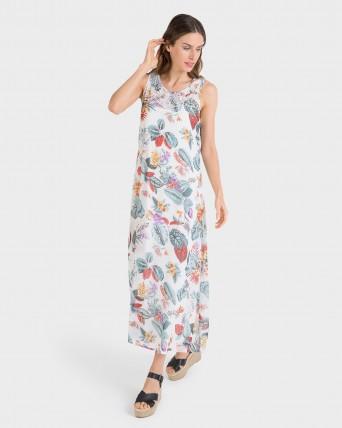 Vestido largo con estampado flores
