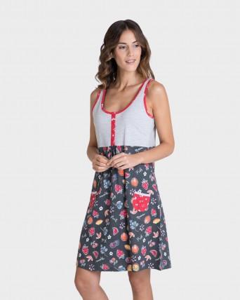 Camisola de mujer tirantes estampado frutal