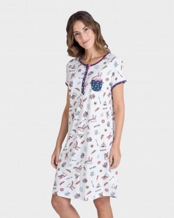 Camisola de mujer manga corta estampado étnico