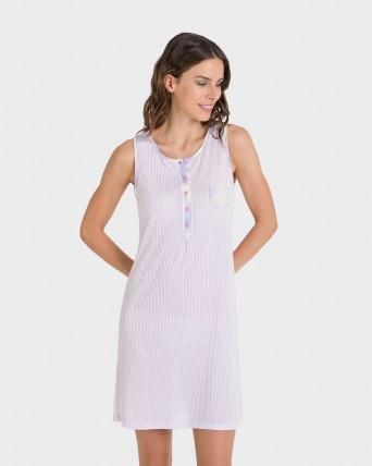 Camisola de mujer cuello redondo y botones