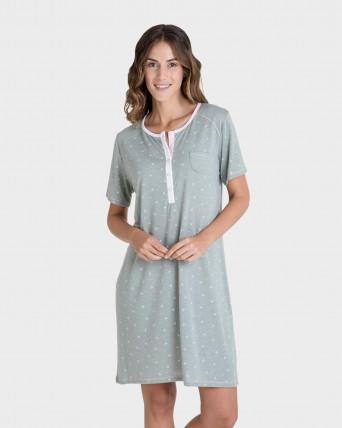 Camisola de mujer manga corta con botones