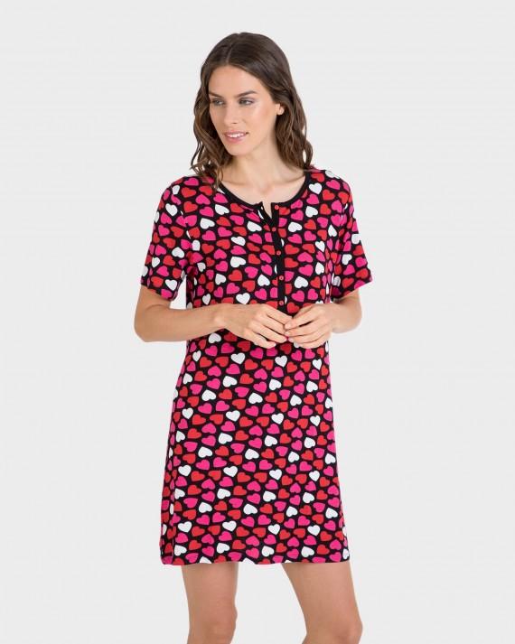 Camisola de dona màniga curta estampat cors
