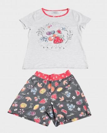 Pijama niña manga corta fruta