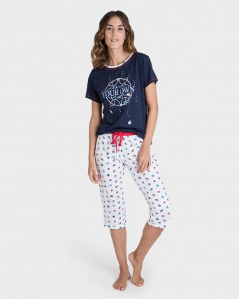 Pijama de mujer pirata color marino